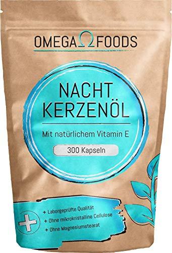 Nachtkerzenöl Kapseln - 300 Hochdosierte Kapseln mit einer Tagesdosierung von 2000mg – enthält natürliches Vitamin E - Nachtkerzenölkapseln mit Omega 6 für Haut