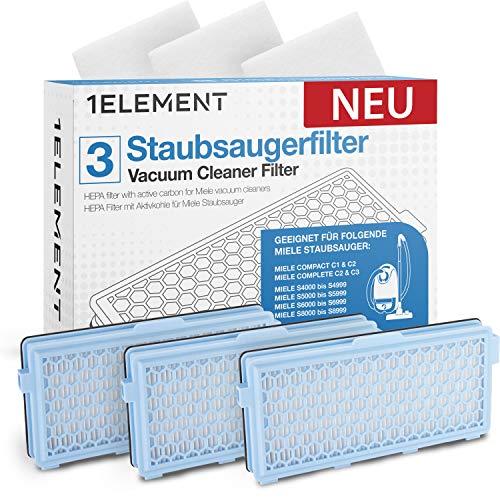 [𝗡𝗘𝗨] 3 Filter für Miele Staubsauger [Compact C1 & C2, Complete C2 & C3, S8340] – 3 HEPA Filter + 3 Motorfilter für Allergiker gegen Feinstaub/Gerüche [S4000, S5000, S6000 & S8000] 𝟭𝗘𝗟𝗘𝗠𝗘𝗡𝗧