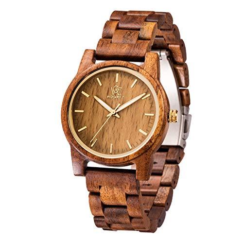WOGREZ Holzuhr Herren Damen Analoge Holzuhren Armbanduhr Klassik Männer Uhr