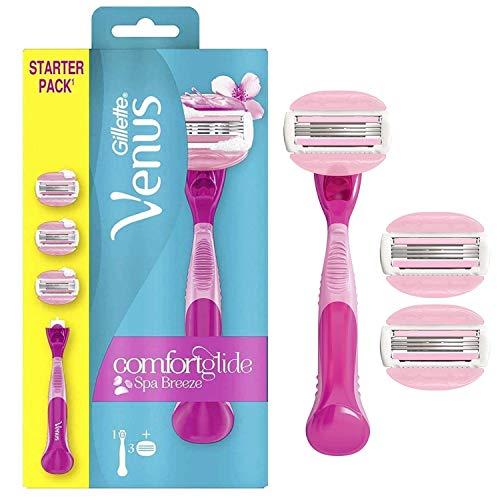Gillette Venus Comfortglide Spa Breeze Rasierer Damen mit Rasiergelkissen für Hautschutz, Damenrasierer + 3 Rasierklingen