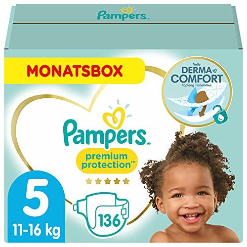 Pampers Baby Windeln Größe 5 (11-16kg) Premium Protection, 136 Stück, MONATSBOX, Pampers Weichster Komfort Und Schutz