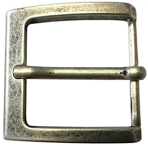 Brazil Lederwaren Gürtelschnalle 4,0 cm | Buckle Wechselschließe Gürtelschließe 40mm Massiv | Dorn-Schließe | Wechselgürtel bis 4cm | Altsilber