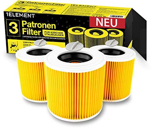 3 Filter für Kärcher Staubsauger [WD3, WD2, WD1, MV3, MV2, A, K, KNT, NT, SE, VC] – 3 Rundfilter + 3 Verschluss-Schrauben für Allergiker gegen Feinstaub/Gerüche [WD 3 2 1 MV] 1ELEMENT