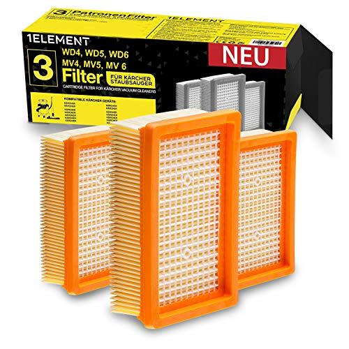 [NEU] 3 Filter für Kärcher Staubsauger [WD4, WD5, WD6 / MV4, MV5, MV6] – 3 Flachfaltenfilter für Allergiker gegen Feinstaub/Gerüche [WD 4 5 6 MV] 1ELEMENT
