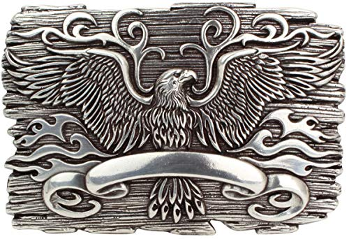 Brazil Lederwaren Gürtelschnalle Eagle 4,0 cm | Buckle Wechselschließe Gürtelschließe 40mm Massiv | Wechselgürtel bis 4cm | Silber