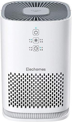 Elechomes Luftreiniger mit HEPA-Kombifilter & Aktivkohlefilter, 3-Stufen-Filterung für 99,97% Filterleistung, Timer, Aromatherapie Air Purifier Optimal für Allergiker, Raucher - EPI081