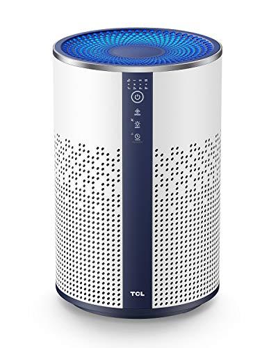 TCL Luftreiniger mit HEPA Filter 99,97% Filterleistung gegen Staub Pollen Rauch für Allergiker und Raucher, Air Purifier Metall Design mit Nachtlicht, Schlafmodus, Lock Set und Timing Funktion