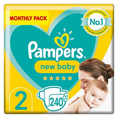 Pampers Babywindeln, Größe 2, 240 Stück, Schutz für empfindliche Haut von Neugeborenen (4-8 kg)