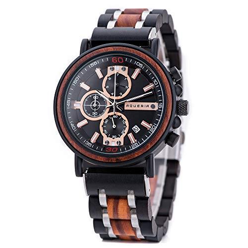 Aqueria Holzuhr Herren, Chronograph Holz Armbanduhr mit Quarzuhrwerk und Uhr Datumsanzeige, Herrenuhr mit Holzarmband