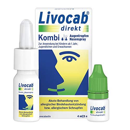 Livocab® direkt Kombi | Augentropfen (4 ml) und Nasenspray (5 ml) | Akuthilfe bei Allergie | Wirkungsvoll ab der 1. Anwendung