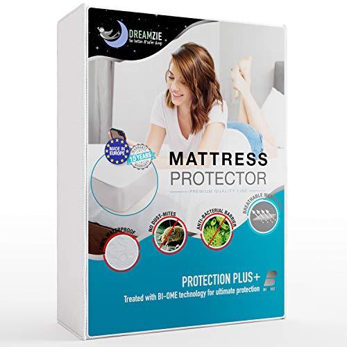 Dreamzie - Matratzenschoner 90 x 190/200 cm Wasserdicht - Atmungsaktive Matratzenauflagen 100% Baumwolle - Matratzen Topper Anti-Allergisch, Anti-Milben & Hygienischer - 15 Jahre Garantie