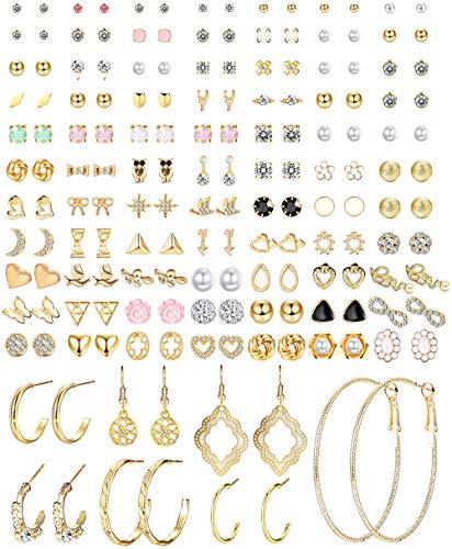 CASSIECA 84 Paar Ohrringe Damen Hoop Ohrringe Gold Kleine Ohrstecker Set Ohrringe Creolen Groß Ohrringe Mädchen Ohrstecker Kleine Tropfen Ohrringe Hängend knorpel Ohrringe Nickelfreie Ohrringe