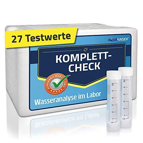 Aquakaiser Wassertest – Komplett-Test auf die gängigsten Schwermetalle, Bakterien, Mineralstoffe, Wasserhärte. – inkl. Kühlbox und Laboranalyse