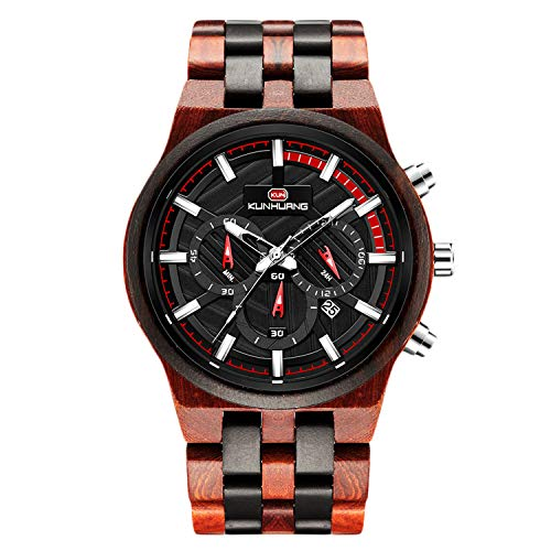 RORIOS Herren Holz Armbanduhren Leuchtend Uhr Men Watch Analog Quarz Armbanduhren mit Kalender Multifunction Männer Armbanduhr