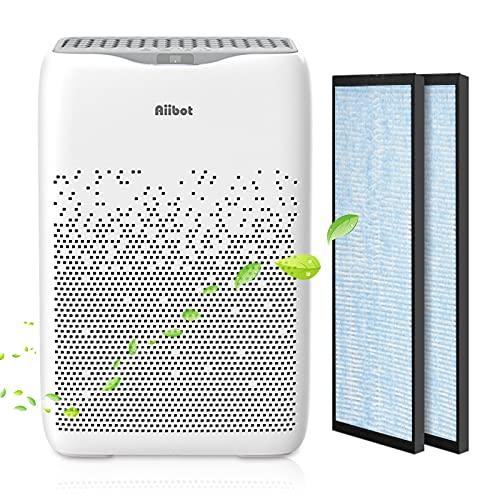 Aiibot Luftreiniger mit 4 in 1 HEPA Filter,Air Purifier für Wohnung und Raucherzimmer bis zu 60 Sq.m.,4 Lüfterstufen,Ionisierer,Timer,Leise Luftfilter gegen 99,9% Allergie,Rauch,Staub,Pollen,Tierhaare
