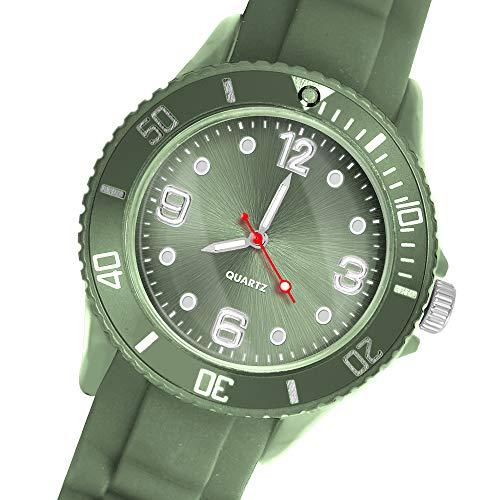 Taffstyle Deutschland Damen Uhr Analog Quarz mit Silikon-Armband Sport Farbige Sportuhr Bunte Armbanduhr Herren Kinder 34mm Olivgrün
