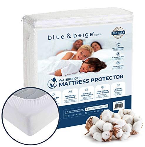 Blue&Beige Wasserdichter Matratzenschoner 160 x 200 | Matratzenauflage | atmungsaktiver Matratzenschutz | aus 100% Baumwolle, effektiver Anti-Milben, waschbar & ideal für Allergiker