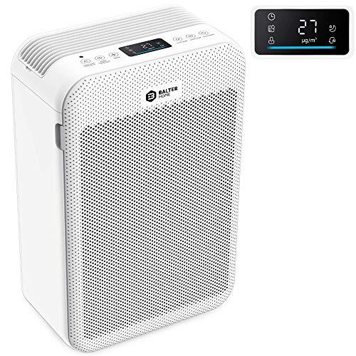 Balter LR-02 Luftreiniger, 5 Fach Filter mit HEPA H13, 99,97% Luftfilter Leistung, CADR 360m³/h, LCD Farb Display, Luftqualitätssensor, bis zu 60m2, Leise Schlafmodus für Allergiker, Weiß (LR-02)