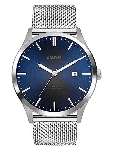 s.Oliver Herren Analog Quarz Uhr mit Edelstahl Armband SO-3478-MQ, silber