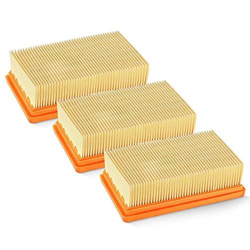 IWILCS 3 Pack Flachfaltenfilter, Filter Flachfaltenfilter, Flachfaltenfilter Filter kompatibel, für Kärcher Staubsauger [WD4, WD5, WD6 / MV4, MV5, MV6] für Allergiker gegen Feinstaub