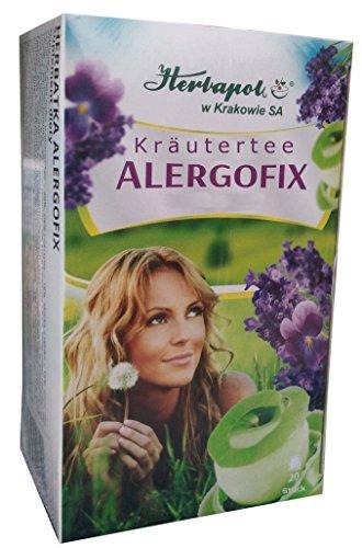 Allergofix Tee - 20 x 2g, mit 9 Kräutern, effektiv, natürlich gegen Allergie, allergischen Schnupfen, bei Erkältung, Heuschnupfen, Pollen, brennende Augen, erhält Leistungsfähigkeit, schnupfenspray, Nasenspray, globuli, augentropfen