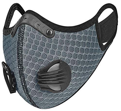 4sold Anti-Staub-Maske mit Schichtfilter, atmungsaktive Sicherheitsmaske für draußen, unisex, grau