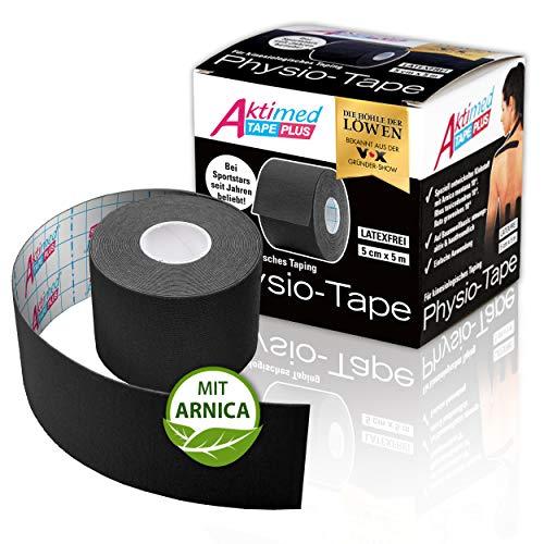 """AKTIMED Tape PLUS Kinesiologie Tape – Sporttape mit pflanzlichem Extrakt Arnica D6* – patentiertes Physiotape Dermatest """"sehr gut"""" – Kinesiologie Tapes elastisch & wasserfest (schwarz)"""
