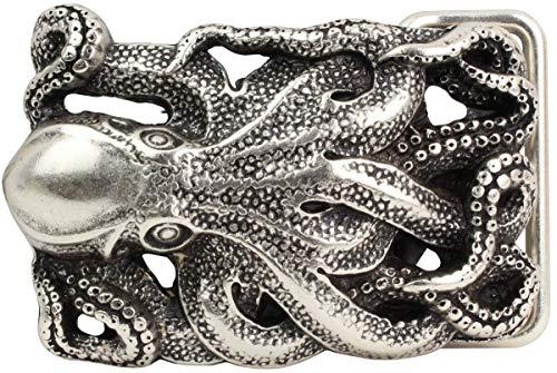 Brazil Lederwaren Gürtelschnalle Oktopus 4,0 cm | Buckle Wechselschließe Gürtelschließe 40mm Massiv | Wechselgürtel bis 4cm | Silber