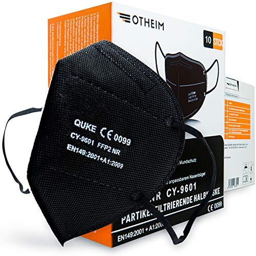 Quke FFP2 Maske schwarz, EU CE zertifiziert,EXTRA BEQUEM,10 Stk hygienisch einzeln verpackt, Atemschutzmaske 95% Filtration 5 Filtrationsschichten, elastisches Gummiband, anpassbarer Nasenbügel
