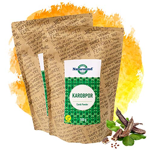 Naturmind Carobpulver 2erPack(2x500g) / Johannisbrot Gemahlen / Lactosfrei / Koffeinfrei / Theobrominfrei / Alternative zu Schokolade / Vegan 1000g