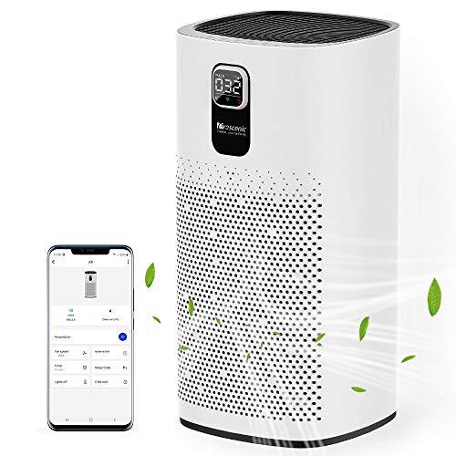 Proscenic Luftreiniger Air Purifier App Steuerung, 99,97% Filterleistung, Hepa 13 Filter, CADR 460m³/h bis zu 90m² große Wohnung, Allergiker Raucher gegen Staub Pollen Geruch, A9 Weiß