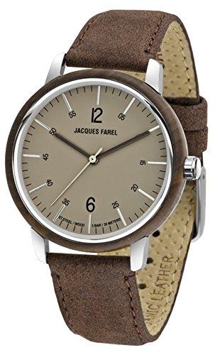 JACQUES FAREL hayfield Damen-Armbanduhr Öko-Leder Holz Analog Quarz Stahl 3 bar ORW 1002