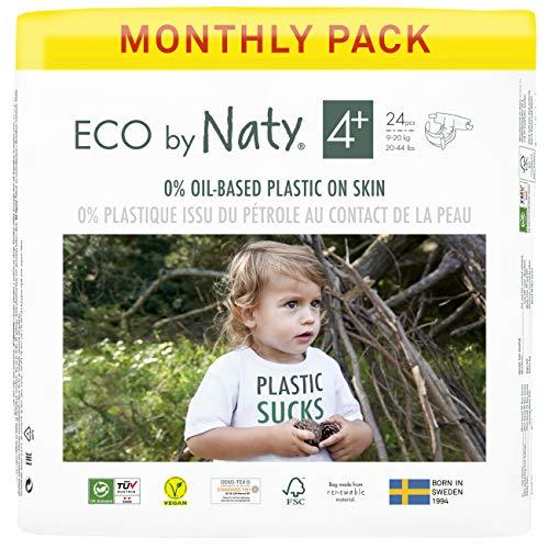 Eco by Naty, Größe 4+, 144 Windeln, 9–20 kg, MONATSVORRAT, pflanzliche Premium-Bio‑Windeln mit 0% Plastik auf der Haut