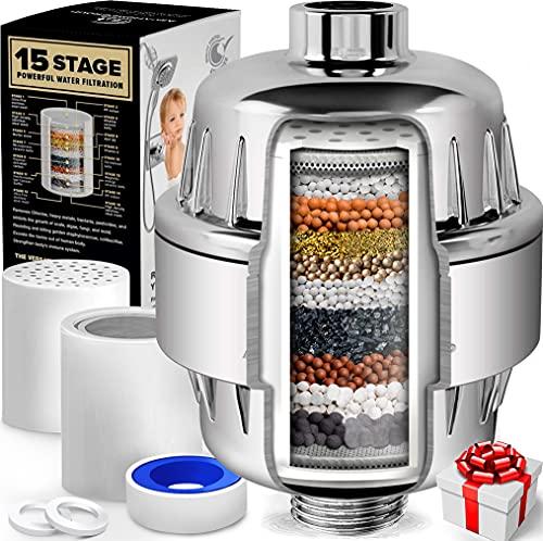 AquaHomeGroup 15 Stufen Duschfilter Kalk mit Vitamin C - Wasserfilter Dusche zur Entfernung von Chlor und Fluorid - Inklusive 2 Aufsätze - Konstanter Wasserdurchfluss Duschkopf Kalkfilter
