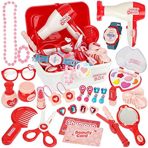 Vanplay Kinderschmink Set Kosmetikkoffer mit Mädchen Kosmetik Spielzeug Rollenspiele Geburtstags Geschenk für Kinder 3 4 5 Jahre (28St)